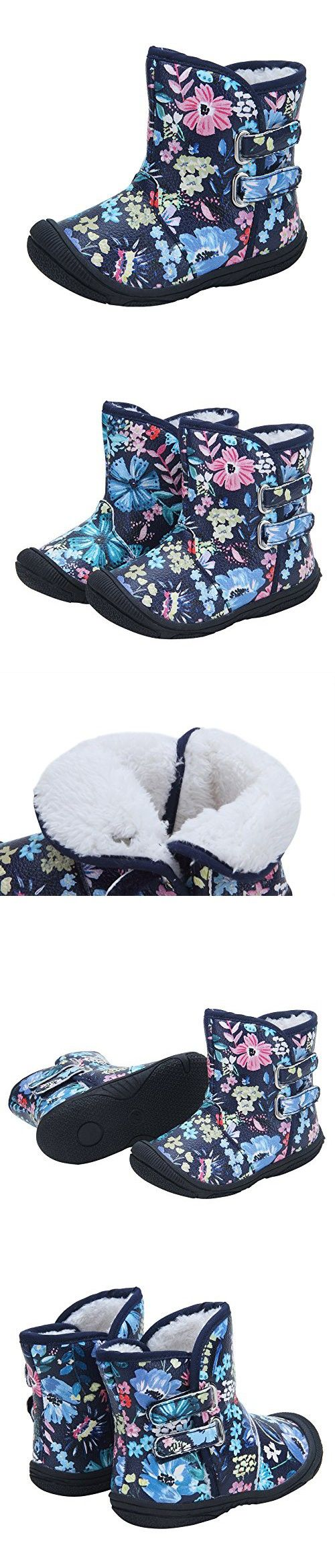 Kuner Baby Girls PU Leather Faux Fleece Rubber Soles Outdoor Warm Snow Boots (13.5cm(12-18months), Black Flowers)