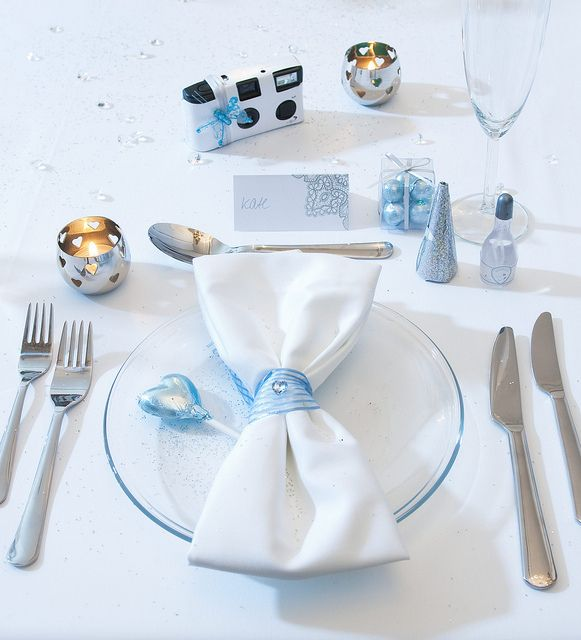 ice blue wedding table setting silver ice blue and