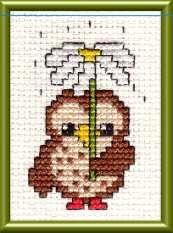photo of cute owl cross stitch design