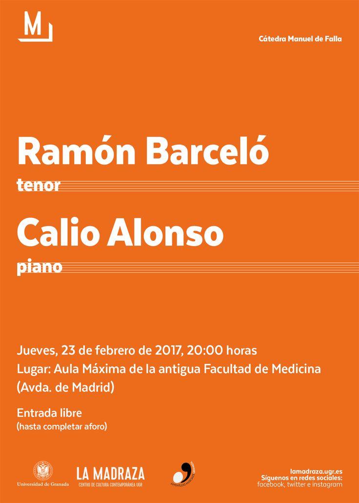 """El 23/02/17 Feb en la Antigua Facultad de Medicina, tendrá lugar un """"Recital lírico"""" con """"Román Barceló"""" (tenor) y """"Calio Alonso"""" (piano). Organiza Cátedra Manuel de Falla y Colabora Juventudes Musicales de Granada. Entrada libre hasta completar aforo. http://lamadraza.ugr.es/evento/recital-lirico/ #CMDeFallaUGR #RecitalLíricoUGR"""