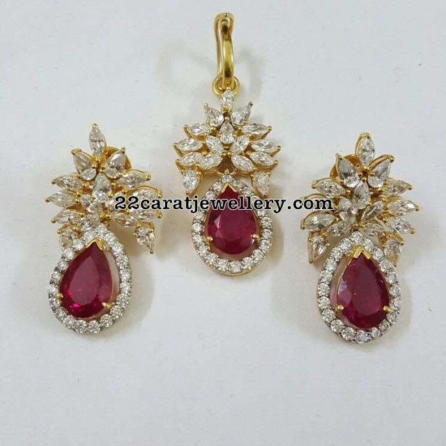 18 carat gold very attractive simple diamond pendant with very large faceted cut pear shaped ruby in the center. Teamed up with unique di...