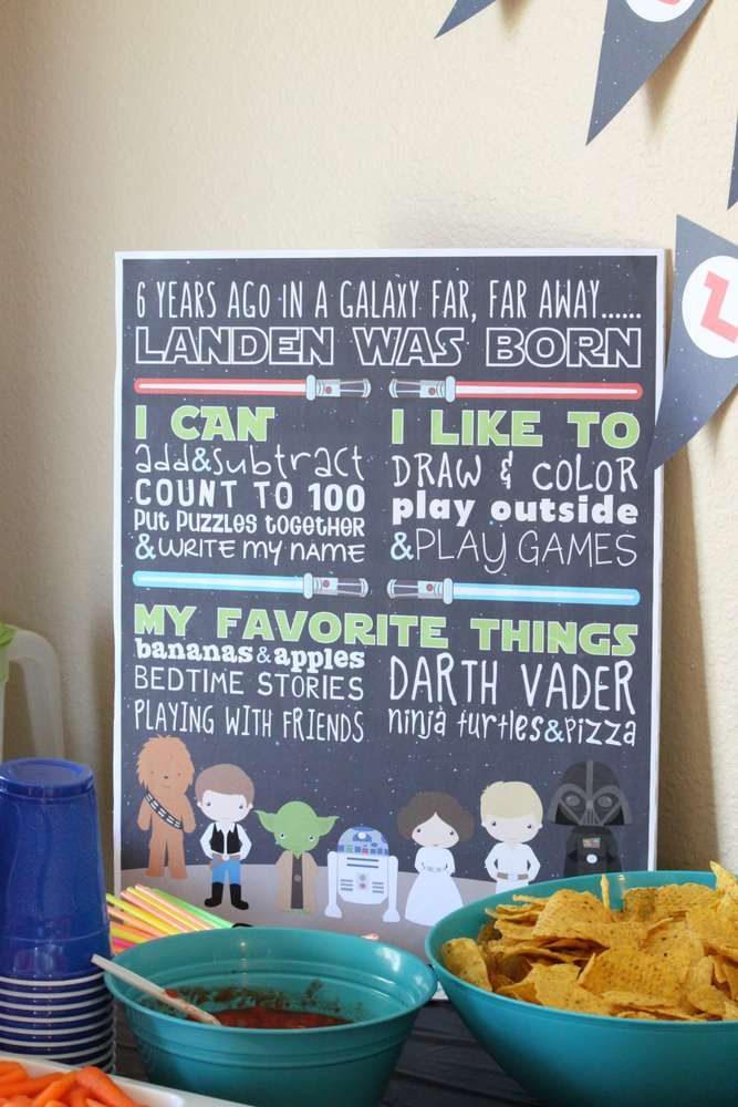 Star Wars Birthday Party Ideas  For my son's 6th birthday party, we went with a Star Wars theme. I made all of the prints for his party. I even made him a 16x20 poster to match. It was a huge hit at the party and everyone loved it.