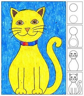 how to draw a cat following directions spatial concepts sequencing compare and - Kids Drawing Pics
