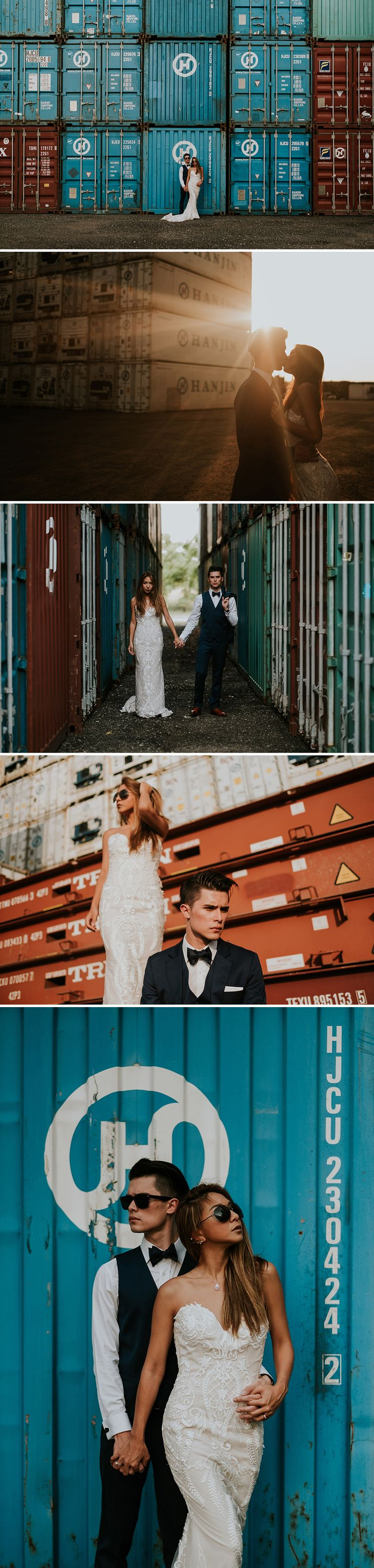 Shipyard as backdrop for lovely engagement shoot // Lady luck was on the side of newlyweds Joshua, Cheryl and their photographer Joseph of Super Panda Presents as they stumbled upon a gritty shipping container yard while driving around Tuas. The result is a series of photos which juxtapose a gorgeously groomed couple with a setting that's a little tough and rough around the edges. Brilliant!