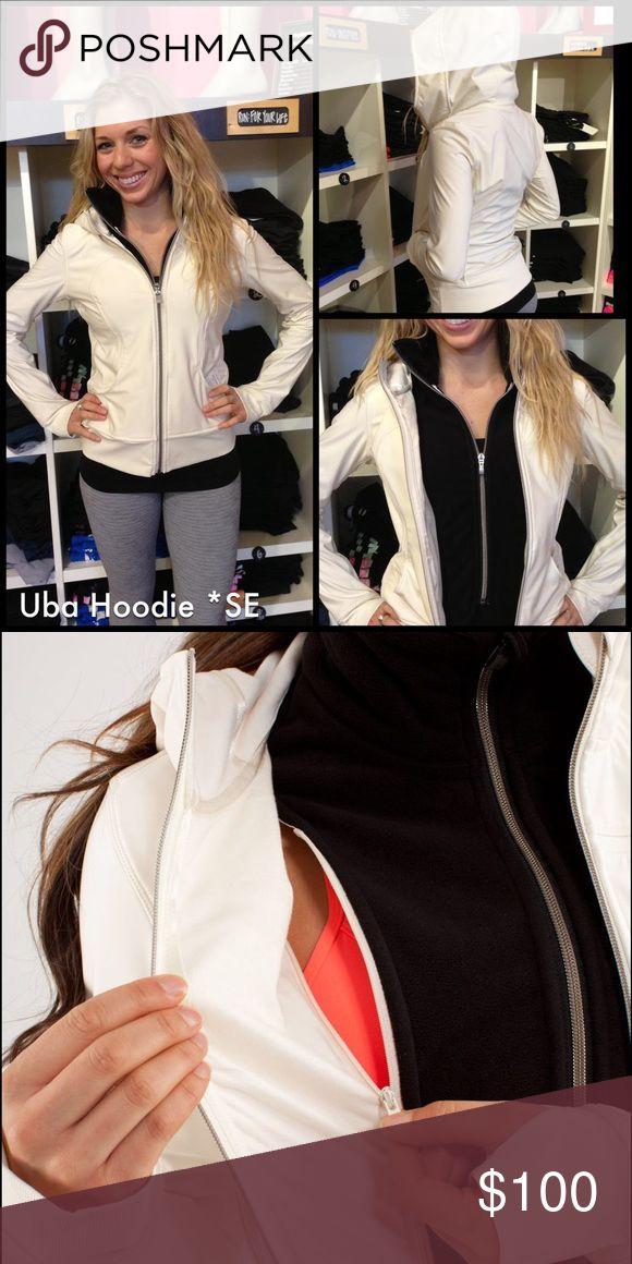 Lululemon Uba Cream Jacket Uba Hoodie Cream Jacket with removable black insert  Size 8  EUC lululemon athletica Jackets & Coats