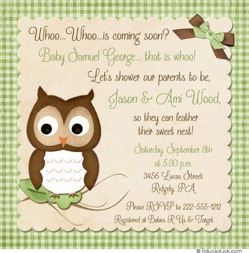 Baby Boy Owl Shower Invitation