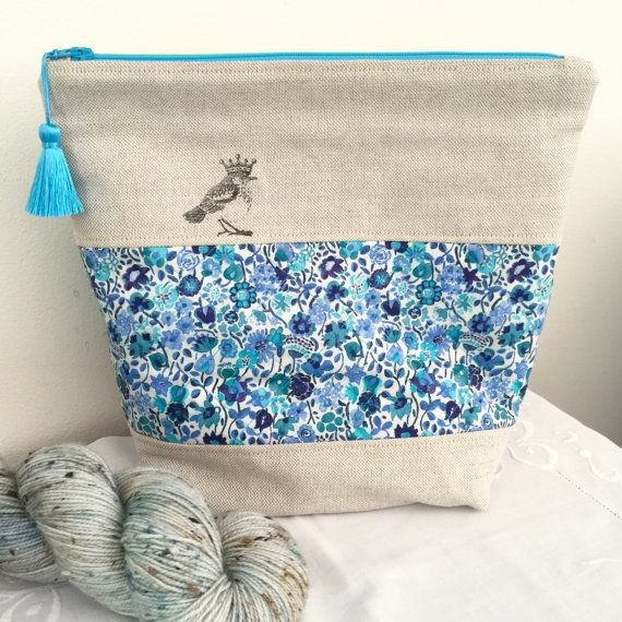 Liberty of London 'Party Bird' project bag with silk tassel ..... Blue Kaylie Sunshine