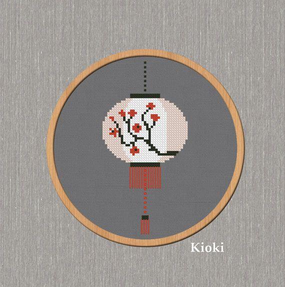 Cross Stitch Pattern Chinese Lantern Instant Download