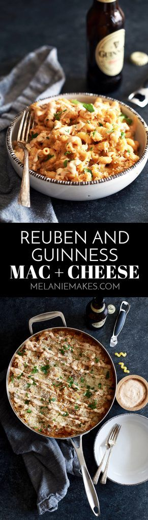 Modern Irish comfort food. That's what I'm calling this Reuben and Guinness Mac and Cheese. Pieces of thick cut corned beef and sauerkraut are stirred into a rich and gooey macaroni and cheese made with both cheddar and Swiss cheese and spiked with Guinness Beer before being drizzled with homemade thousand island dressing. AD