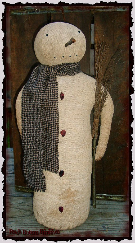Primitive Simple Snowman Stump Doll~Christmas Winter ePattern