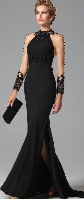 eDressit High Neck Back Bowknot Slit Black Evening Gown