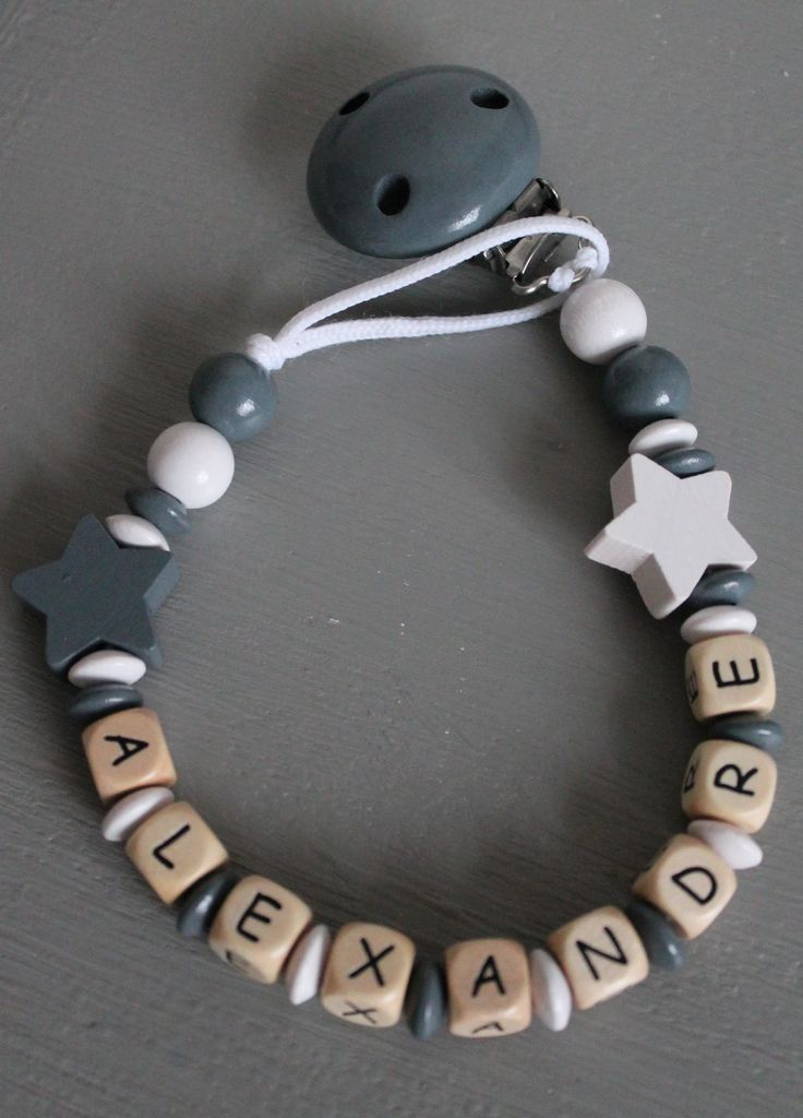 Attache tétine personnalisé en perles de bois - modèle Alexandre : Puériculture par elodolly