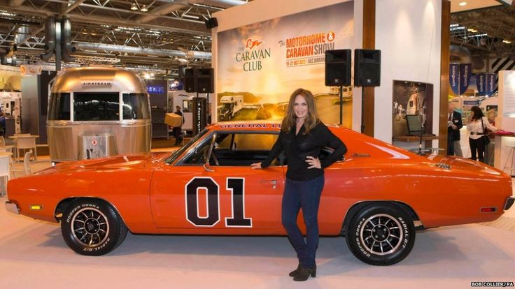 catherine bach daisy duke with a general lee car the. Black Bedroom Furniture Sets. Home Design Ideas