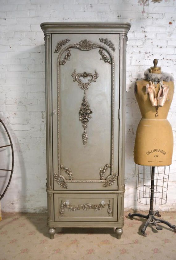 Painted Cottage Chic Shabby Romantic French Armoire AM184