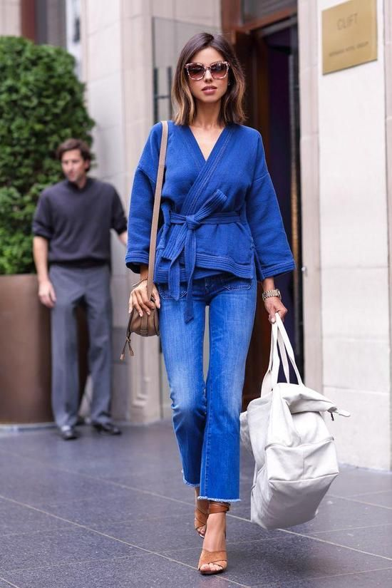 Spring Outfits 2015: 50 Flawless Looks to Copy Now - The new double-denim: cropped, frayed hem denim flares + a denim kimono with matching obi belt