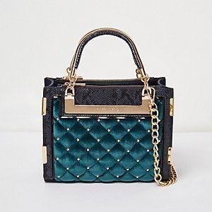Blue quilted velvet stud mini tote bag
