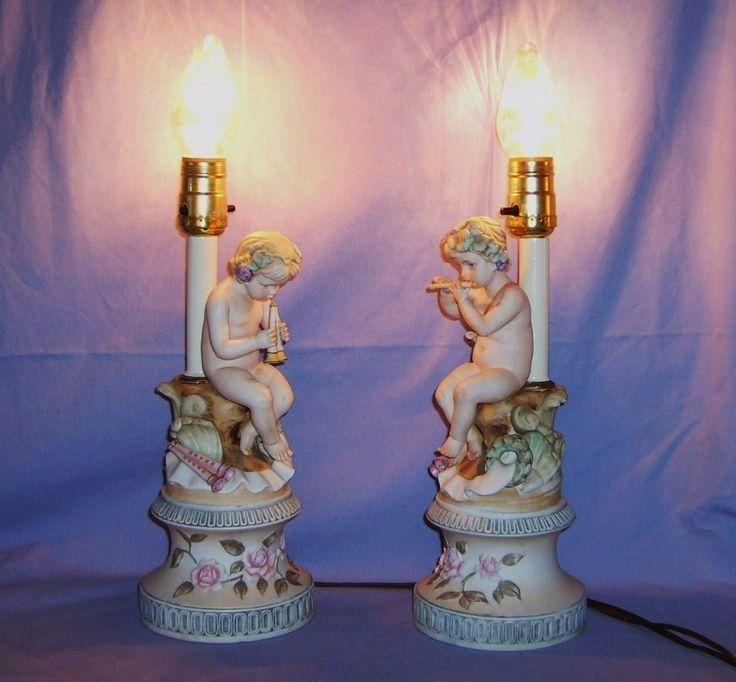 Painted Cherub Figurines Pair Porcelain Bisque Lamps