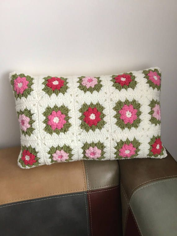 Cushion pillow Wool crochet granny square knitted vintage