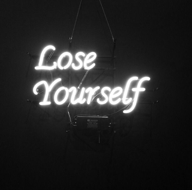 lose yourself neon lights | light up sign | white typography | plug in wall art