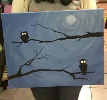 Owl canvas painting