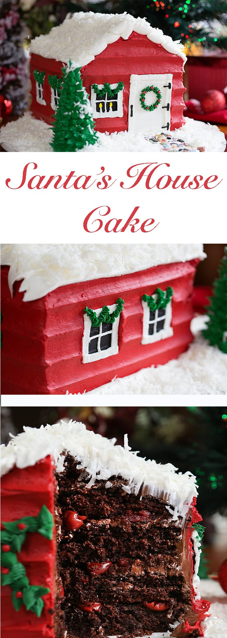 You might be surprised how easy this is after you see my tips & tricks!! #christmascake #santahouse #cakedecorating #buttercream #christmascake #iambaker