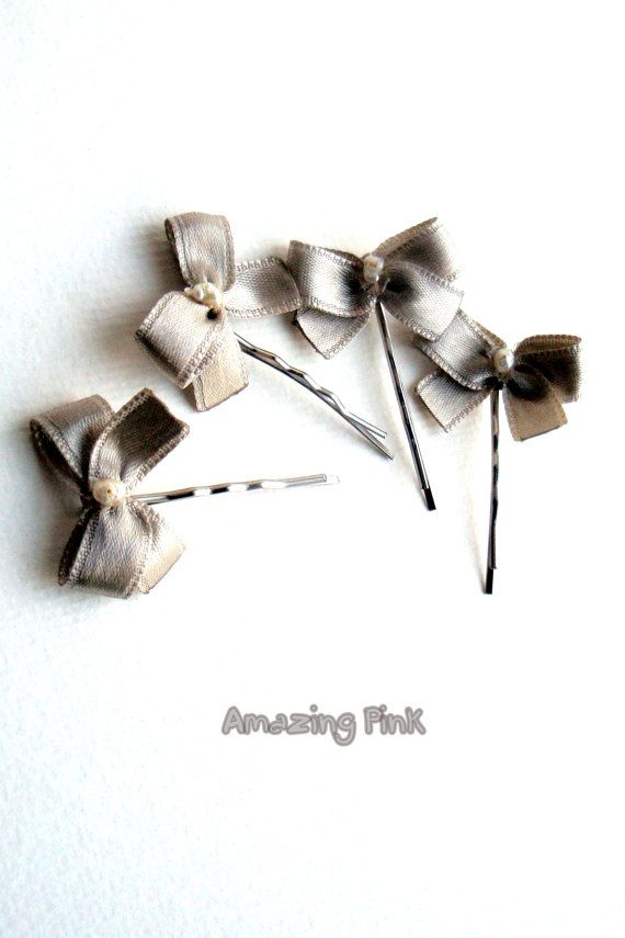 ON SALE 20 OFF /Bow Hair Pins / Bridal Hair by AmazingPink on Etsy, $12.00