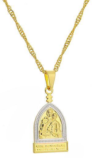 Gargantilha folheada a ouro c/ medalha da Mãe Rainha c/ aplique de prata