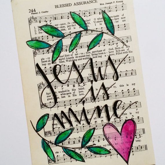 Hand Painted Vintage Hymn Page Blessed by GrowingMeadows on Etsy hymnal hymn art painting