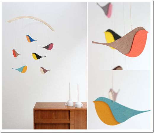 Mobile...sweet, clean shape for birds...made of thin wood...alternatives could be endless