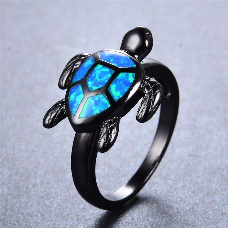 Ocean Blue Fire Opal Sea Turtle Shaped Black Gold Filled Ring