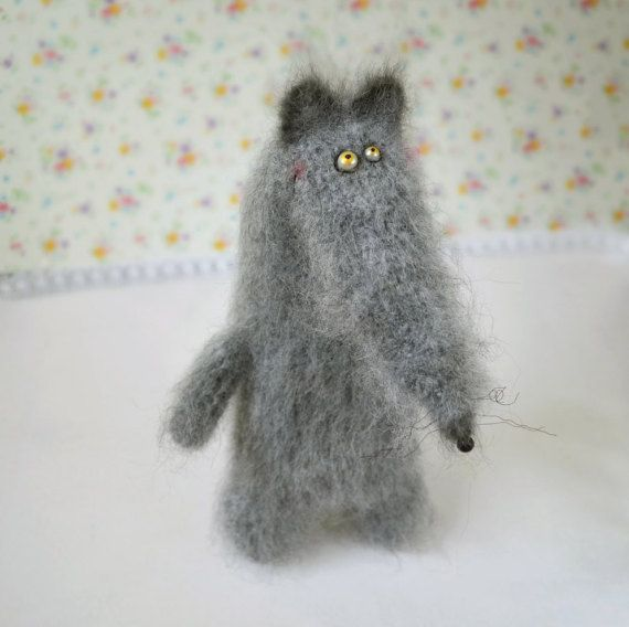 Wolf stuffed toy doll knitted wolf crochet wolf hand knit toy