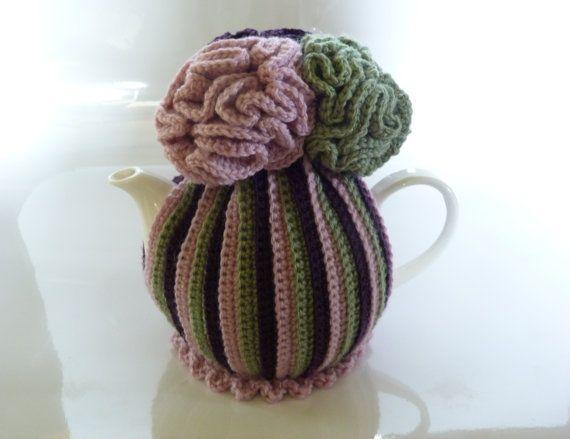 Musk Pink Purple and Green Dahlia Tea Cosy by IvysTreasures, $20.00
