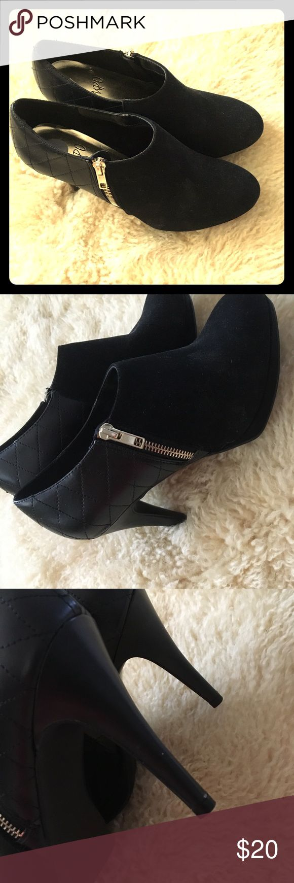 Black velvet high hells ankle shoes brand new Never use them Not in original box  Fits really nice use them with tights jeans, leggings, skirts.  If you like them just make a decent offer thank you impo Shoes Ankle Boots & Booties