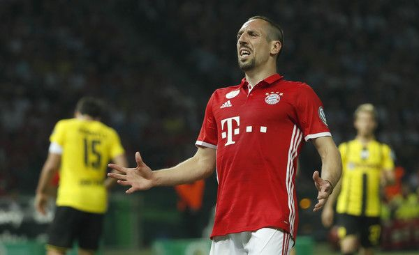 Bayern Munich's French midfielder Franck Ribery gestures during the German Cup (DFB Pokal) final football match Bayern Munich vs Borussia Dortmund at the Olympic stadium in Berlin on May 21, 2016.