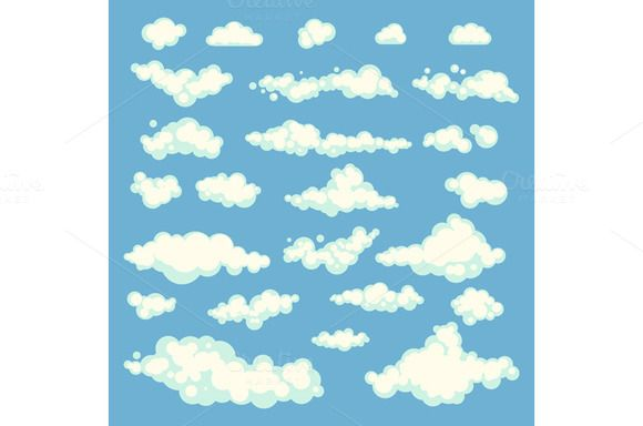 set Vector illustration of clouds by Rommeo79 on @creativemarket
