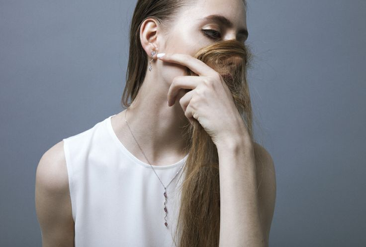#ROSE LEAVES http://www.lizabelachew.com/roseleaves/ 18KWG Ruby Necklace with black rhodium plating 18KWG diamonds earrings