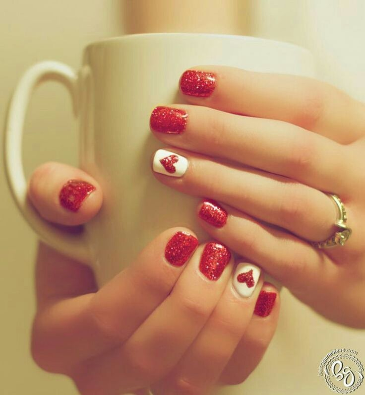 Red and White with a Red Heart Nail Art Design