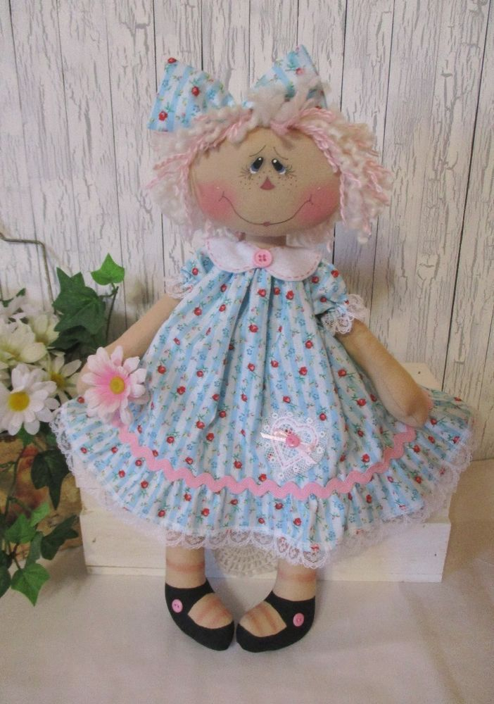 Primitive Raggedy Ann doll pink aqua blue dress pink & cream hair painted face  #NaivePrimitive