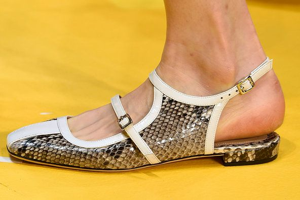 T's Daily Shoe: At Carven, Snakeskin Mary Janes With a Racing Stripe. #PFW #SS15 (Photo: Firstview)