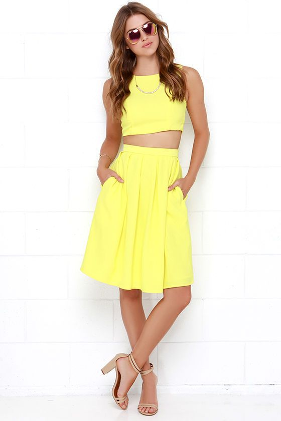 Splendidly Spry Yellow Two-Piece Midi Dress with pockets at Lulus.com $84 (sold out)