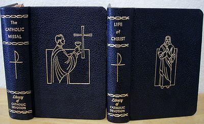 Catholic Missal & Life of Christ Leather Books Library of Catholic Devotion 1960