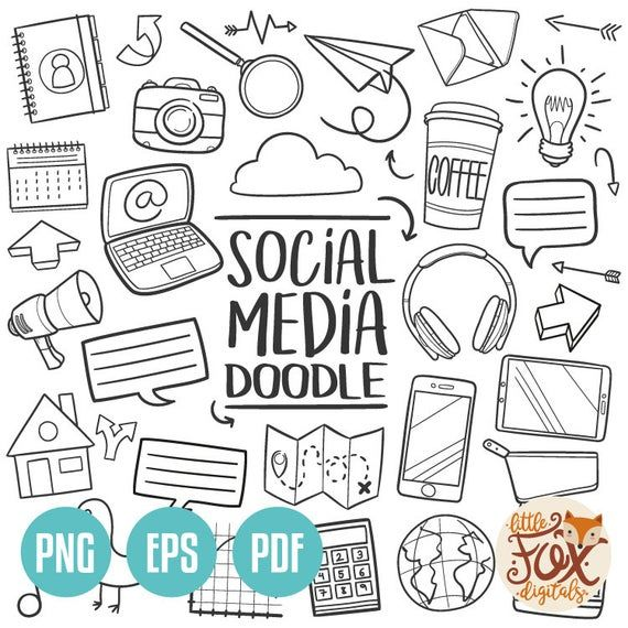 Social Media Technology Internet Tools Computer Doodle Icons Etsy In 2020 Line Art Design Doodles How To Draw Hands