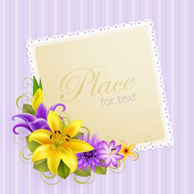 Flower Greeting Card Vector