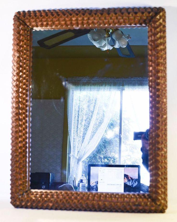 Antique Hand Carved Wood Frame Tramp Art Folk Art Mirror 24  x 18  | eBay
