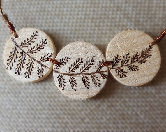 Wood burned pendant, pyrography minimalist wood pendant necklace, slice wood eco pendant, waxed cotton cord adjustable floral necklace