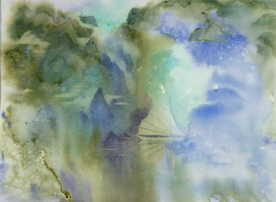 Digital Print Of Original Watercolor Painting By North West Artist Mary Miyakawa 5 X Note Card Printed On Matte Stock