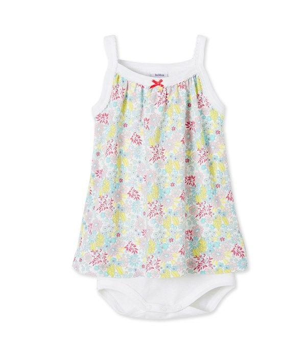 Body robe bébé fille à bretelles Petit Bateau blanc, vert