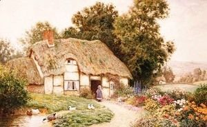 A Cottage by a Duck Pond  Arthur Claude Strachan