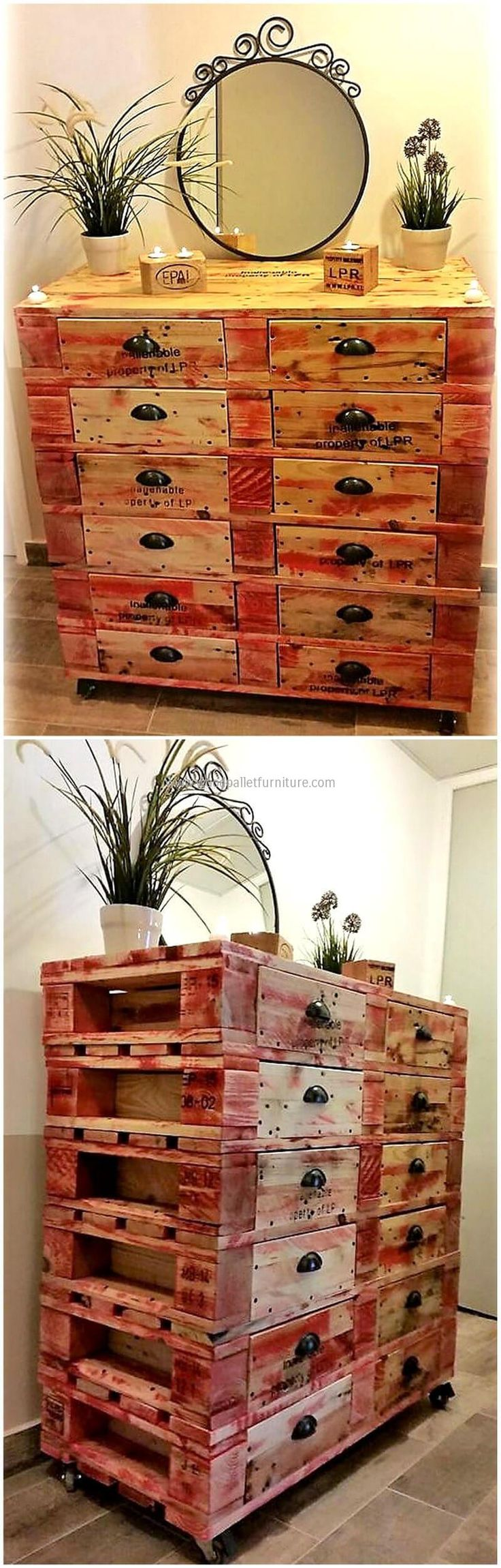 Make the first impression of your house to be great by decorating your entrance with a delicate entrance table. Rustic and classy reformed entrance table ads up to the beauty of your house. The mirror placed above it is giving it a royal and pretty look. The drawers provide enough space to keep your necessary keys or other items.