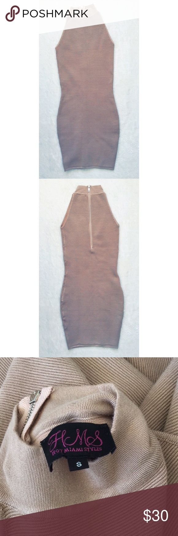 Nude mini dress Nude mini dress-Brand new, never worn. Turtle neck , Back zipper, stretchy material. Hot Miami Styles Dresses Mini